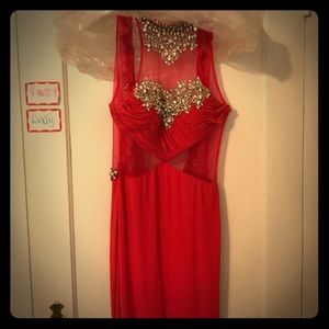 Red stretchy prom dress